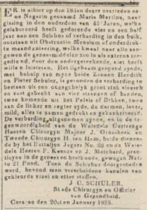 De Curaçaosche Courant 29-01-1825, bericht van de stads chirurgijn en officier van gezondheid J.C. Schüler over door hem verricht medisch onderzoek op de negerin Maria Martina.