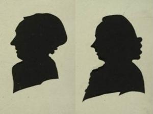 Silhouet portretten van Femmetje Bodisco - Doyer (1746 - 1834) en Martinus Bodisco (1753-1823) , 1796