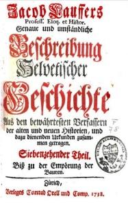 Kroniek van de Zwitserse geschiedenis door Jacob Lauffer (1738)