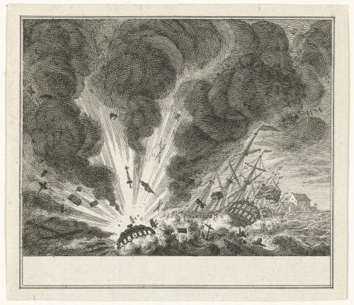 Ontploffen van het oorlogsschip Alphen in de haven van Curaçao, 1778, Simon Fokke, 1778 - 1779 (Rijksmuseum)