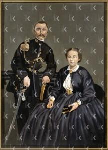 Dubbelportret van J.H. van der Schalk (1833-1940 en A. van der Schalk - Linclaen Westenberg (1840-1914), ouders van Marie Elize Hage - van der Schalk, Ubbo Scheffer, ca. 1850-1874 (particuliere collectie)