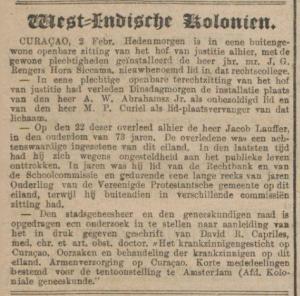 Necrologie Jacob Lauffer, Algemeen Handelsblad en De Standaard d.d. 03-03-1883