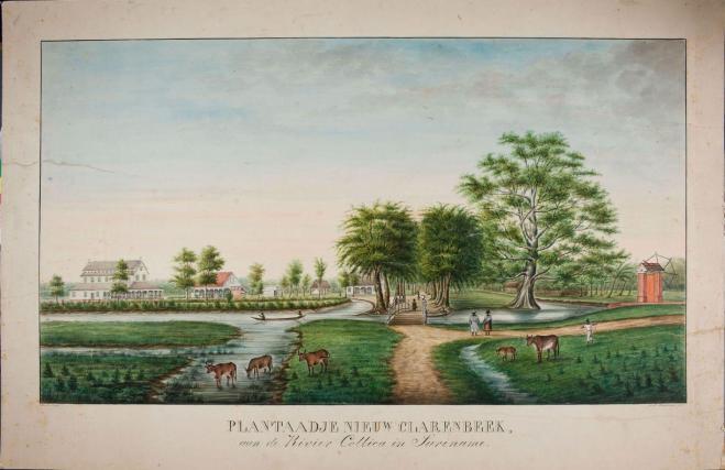 Waterverfschildering van plantage Nieuw Clarenbeek te Suriname, A.L. Brockmann,1860 (Tropenmuseum)