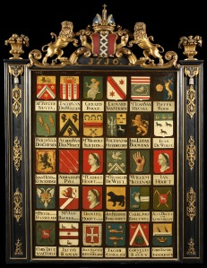 Wapenbord regenten van het Burgerweeshuis te Amsterdam, J.E. Benoit en P. le Normant, 1716 (Amsterdam Museum)