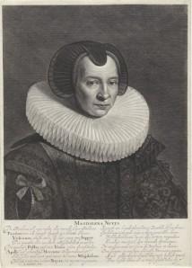 Portret van Magdalena Nuyts - Timmermans, grootmoeder van David Nuyts (15..-16..), Jonas Suyderhoef (Rijksmuseum)