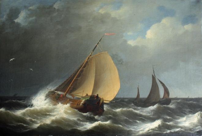 Schepen bij een stevige wind, Hermanus Koekkoek Sr., 1872