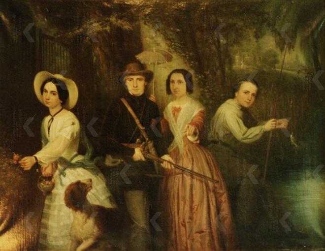 Portret van de kinderen van Mr. J.C. Delbeek en K.S.J. Bouricius van Idema, midden links Mr. Pieter Delbeek (1830-1861), Jacobus van Koningsveld, 1850-1874 (particuliere collectie)