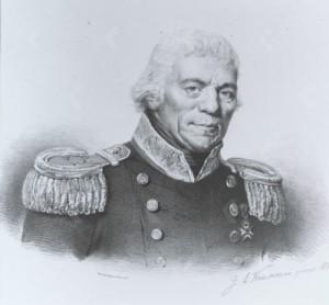 Portret van Abraham Kuvel (1757 - 1832), vice-admiraal en broer van W.S. Lix Raaven - Kuvel, prent naar schilderij van J.A. Kruseman, 1832 (RKD)